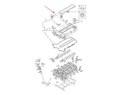 Przewód odpowietrzania skrzyni korbowej Opel na schemacie
