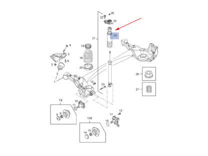 Schemat - odbój amortyzatora w Oplu Corsie D