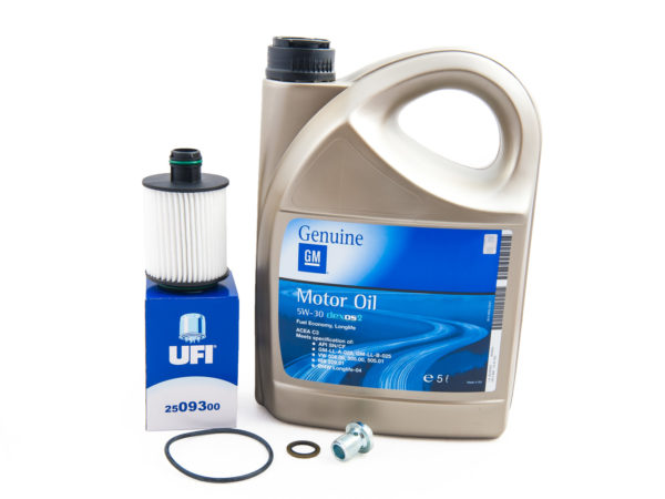 Zestaw do wymiany oleju silnikowego w Opel Insignia 2.0 CDTI - filtr olej GM 5w30 oraz korek spustu oleju