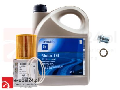 Zestaw - Filtr oleju GM / Olej 5W30 GM 5L / Korek spustu oleju - Astra H / Signum / Vectra C / Zafira B - 1.9 CDTI - 5650354 / 1942003 / 652950