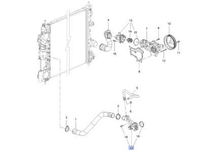 Króciec wodny przykręcany do bloku silnika - Opel Adam Astra J Corsa D E Meriva B - 1338022 / 55562048