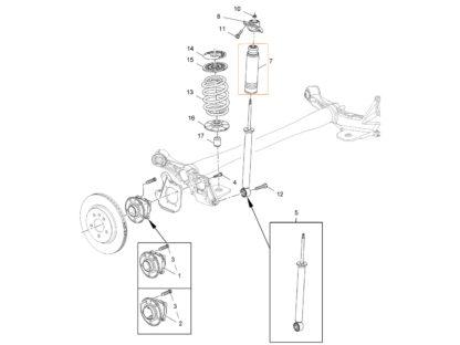 Zestaw osłon i odbojów do tylnego amortyzatora - Zafira C / Astra J / Cascada - 13251782