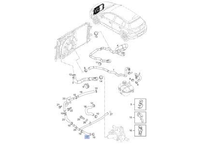 Wąż gumowy termostatu 6336084 / 97300149 - połączenie z metalową rurką wodną bocznik Opel 1.7 - Astra G H / Corsa C / Meriva A