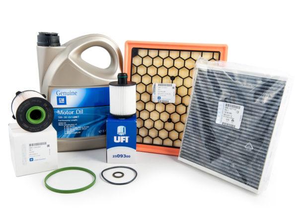 Zestaw oryginalnych filtrów - oleju / paliwa/ powietrza / kabinowy + olej GM 5W30 + uszczelka pod korek - Opel Astra J / Insignia / Zafira C - 2.0 cdti