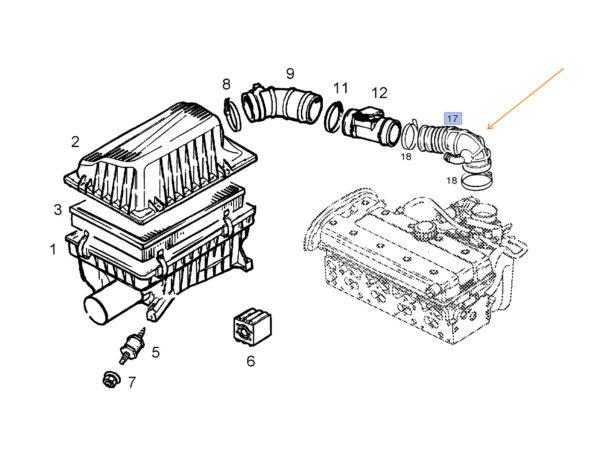 Przewód gumowy łączący przepływomierz z przepustnicą 90411677 / 836791 - Vectra A B / Astra F / Calibra