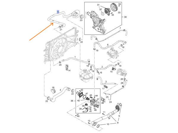 Rura / przewód / wąż gumowy wodny z trójnikiem układu chłodzenia Opel Astra H III / Zafira B