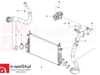 Przewód turbiny od intercooler do kolektor ssący Opel Insignia 2.0 cdti - 860118 / 1302275 / 1302277