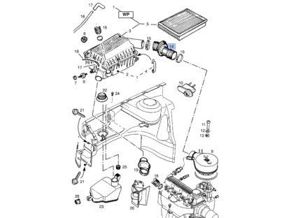 Wąż gumowy filtr powietrza Opel Astra F / Astra F Classic - 1.4 1.6 1.8 - 836770 / 90351553