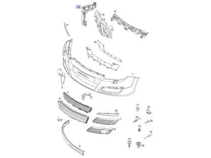 Lewe mocowanie zderzaka przedniego do Opla Astry III - generacji - 1406547 / 24460283
