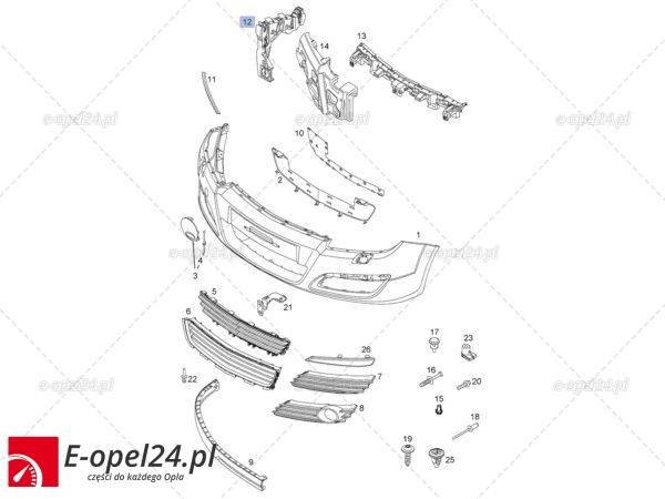 Prawe mocowanie zderzaka przedniego do Opla Astry III - generacji - 1406548 / 24460284