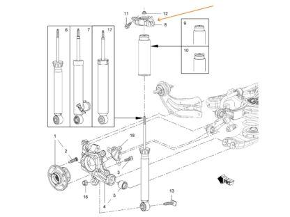 Uchwyt tylnego amortyzatora Opel Insignia