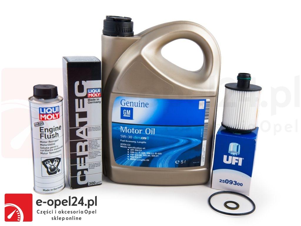 Filtr oleju + olej GM 5W30 + Cera Tec + płukanka Liqui Moly - Opel Astra J / Corsa D / Combo D / Insignia / Meriva B / Zafira C - 650061 / 1942003