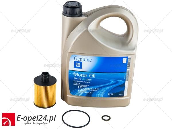 Filtr oleju / olej 5w30 GM Dexos 2 / uszczelka korka spustu oleju - Opel Astra J / Cascada / Combo D / Corsa D / Insignia / Meriva B / Zafira C