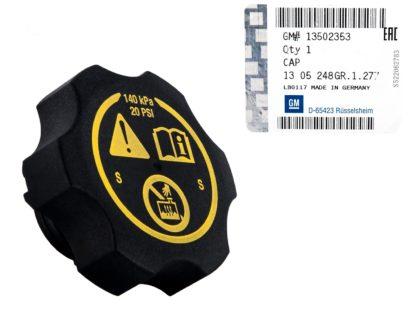 Oryginalny korek zbiornika wyrównawczego płynu chłodzącego Opel Adam / Astra J K / Corsa D E / Insignia / Meriva B / Zafira C - 1305248 / 13502353