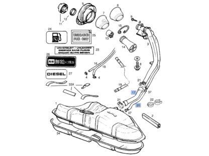 Węże zbiornika paliwa - rura wlewu oraz przewód odpowietrzający bak Opel Vectra B - 806092 / 90499641 / 806642 / 90499642