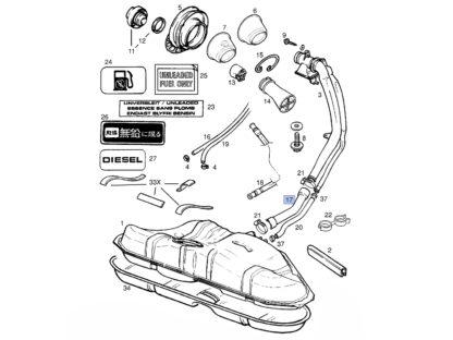 Rura zbiornika paliwa Opel Vectra B 806609 / 9181888 / 806092 / 90499641