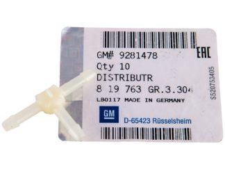 Trójnik przewodów przelewowych Opel Astra G / Omega B / Zafira B 9281478 / 819763