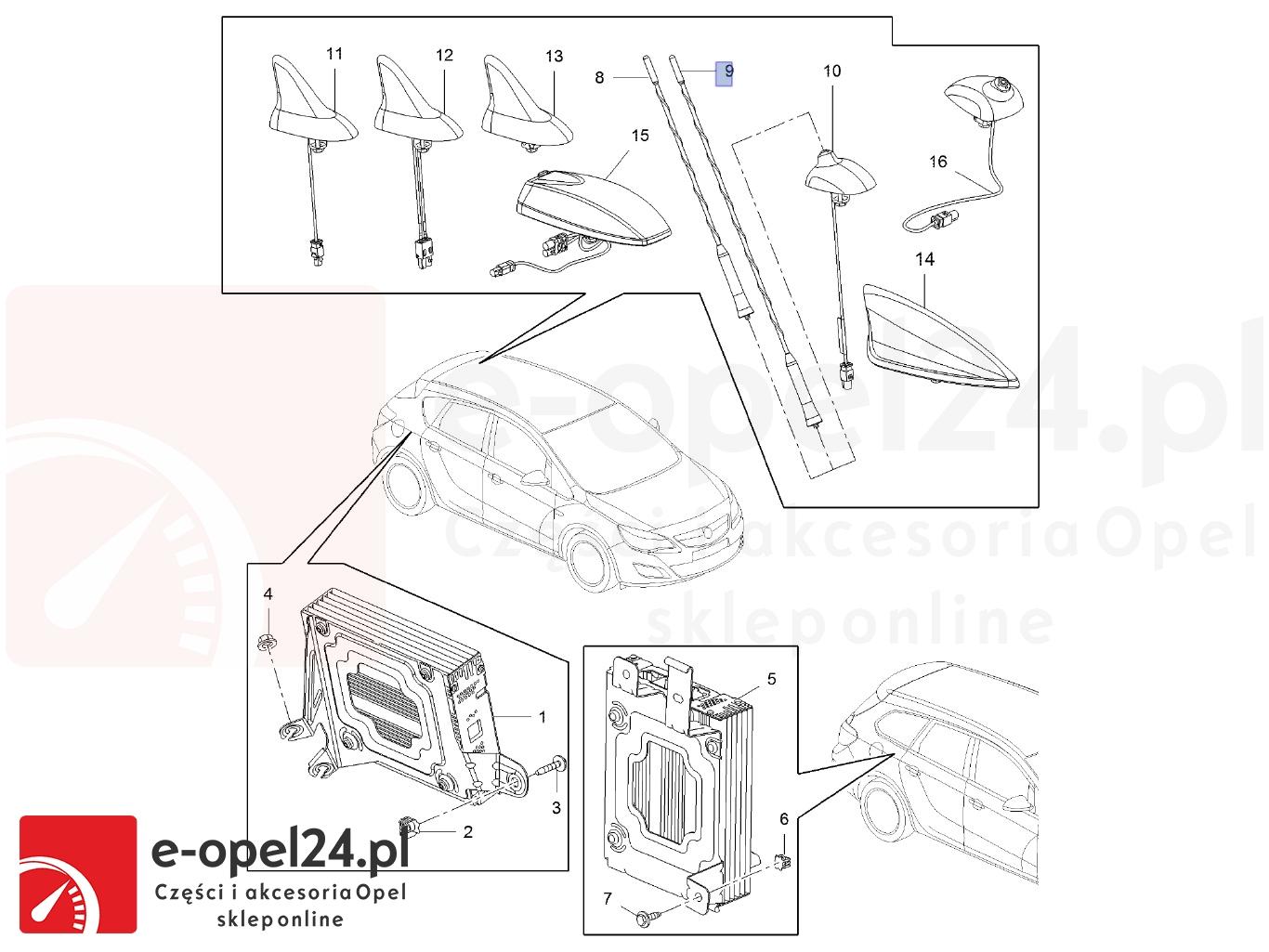 Maszt anteny Opel Astra J 1784029-13288180 - 406mm