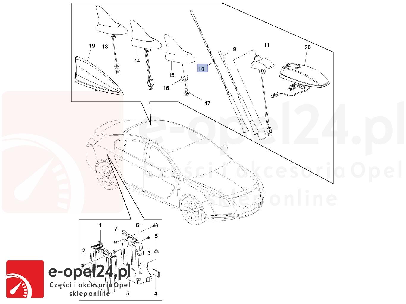 Maszt anteny samochodowej Opel Insignia - 1784029-13288180 - 406mm