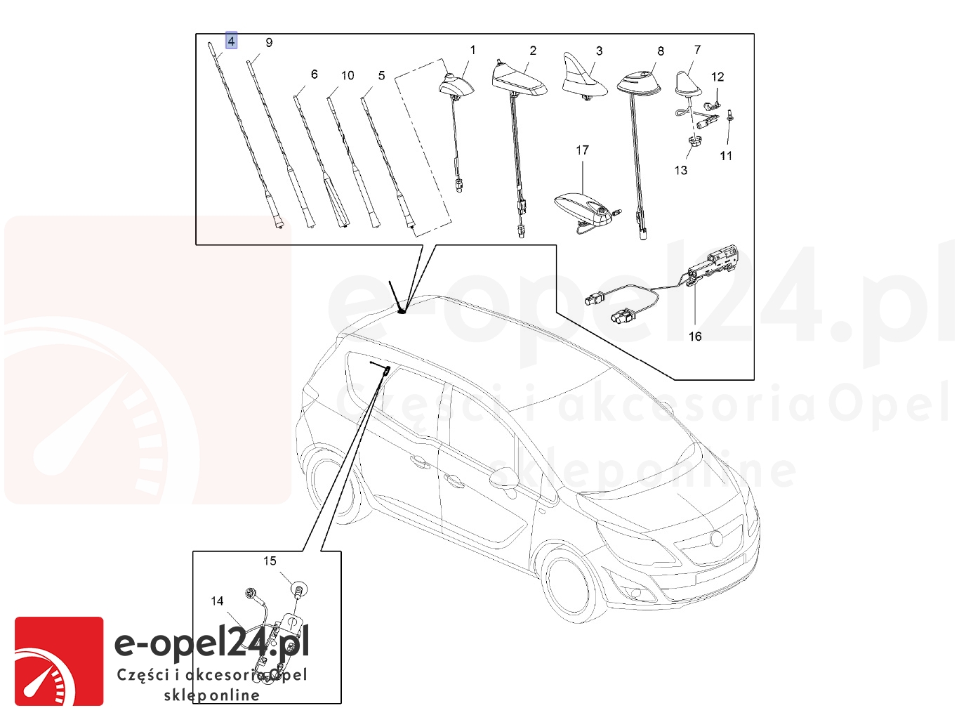 Maszt anteny samochodowej Opel Meriva B - 1784029-13288180 - 406mm