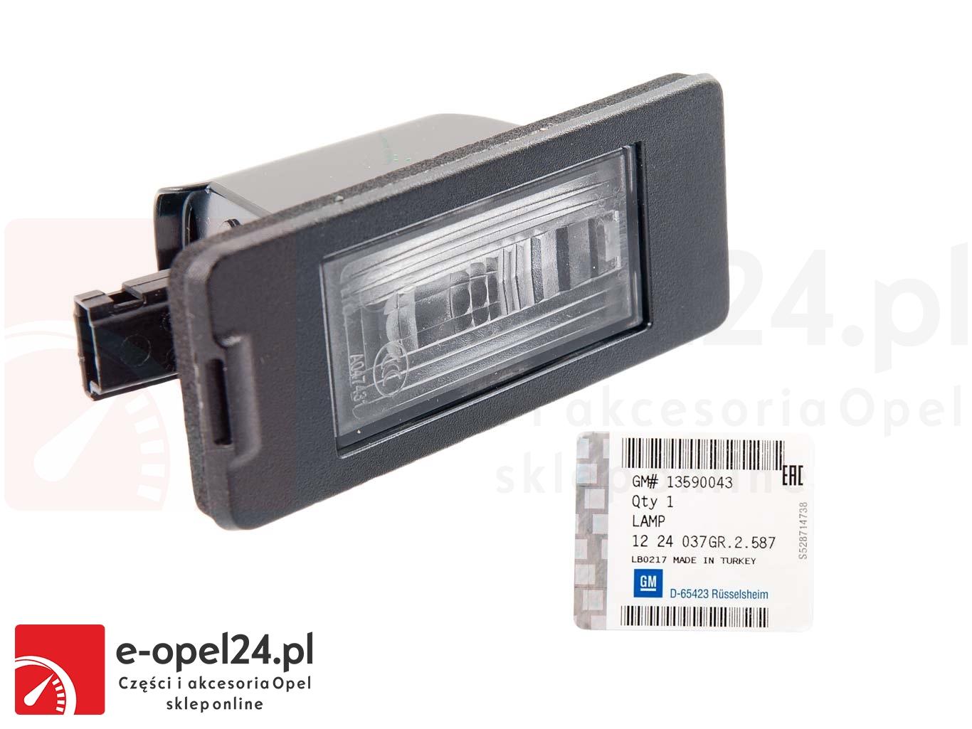 Lampka Oświetlenia Tablicy Rejestracyjnej W Zestawie żarówką Opel Astra J Zafira C 1224037 13590043