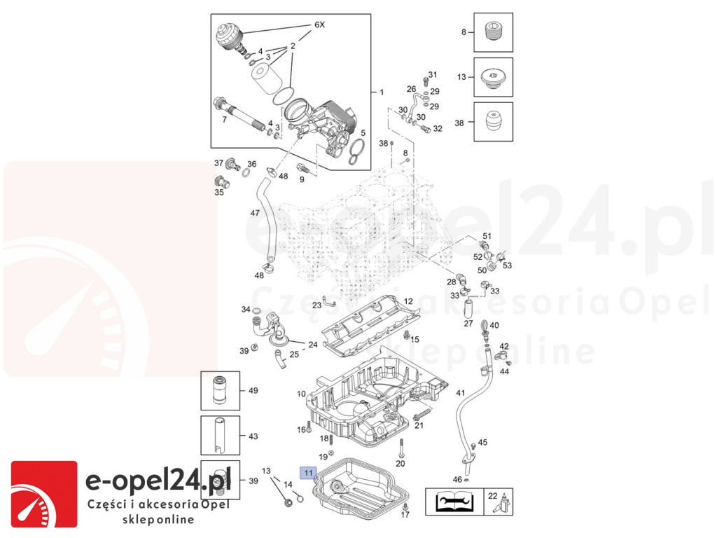 Miska olejowa w zestawie z korkiem spustu oraz pastą uszczelniającą do silników 1.7 CDTi - Opel Corsa D / Mokka / Meriva A B / Astra H J / Zafira B - 5652015 / 97385817