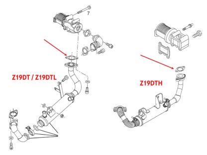 Uszczelka między zwór EGR a rurkę chłodnicy spalin - do silników diesla 1.9 cdti - Opel Astra H / Zafira B - 851362 / 93178885