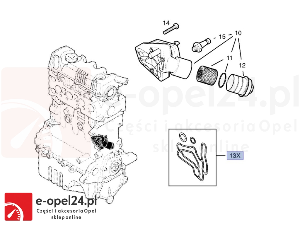 Uszczelki podstawy filtra oleju i chłodniczki Opel Signum / vectra C 1.9 cdti
