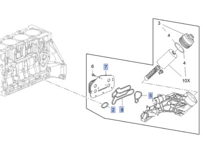 Chłodnica oleju Opel Astra H J / Corsa D E / Insignia / Meriva A / Mokka / Signum / Vectra C / Zafira B C 1.6 / 1.8 – 5650833 / 55355603