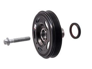 Oryginalne koło pasowe wału korbowego z piastą, śruba oraz uszczelniaczem do pompy oleju 614181 / 55574771 - Opel 1.0 1.2 1.4