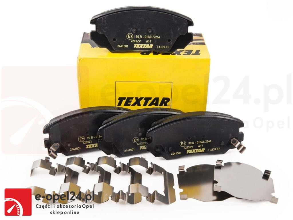 Klocki hamulcowe osi przedniej w zestawie z blaszkami montażowymi - 1605624 / 13237750
