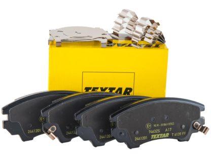 """Klocki hamulcowe osi przedniej w zestawie z blaszkami montażowymi - 1605434 / 13237751 Opel Insignia A - z układem hamulcowym 17"""" - średnica tarczy hamulcowej 321mm"""