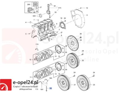 Śruba stopy wału korbowego Opel Astra J IV / Antara / Insignia A B / Zafira C 2.0 - CDTI - 2001871 / 545491131 - Rysunek techniczny