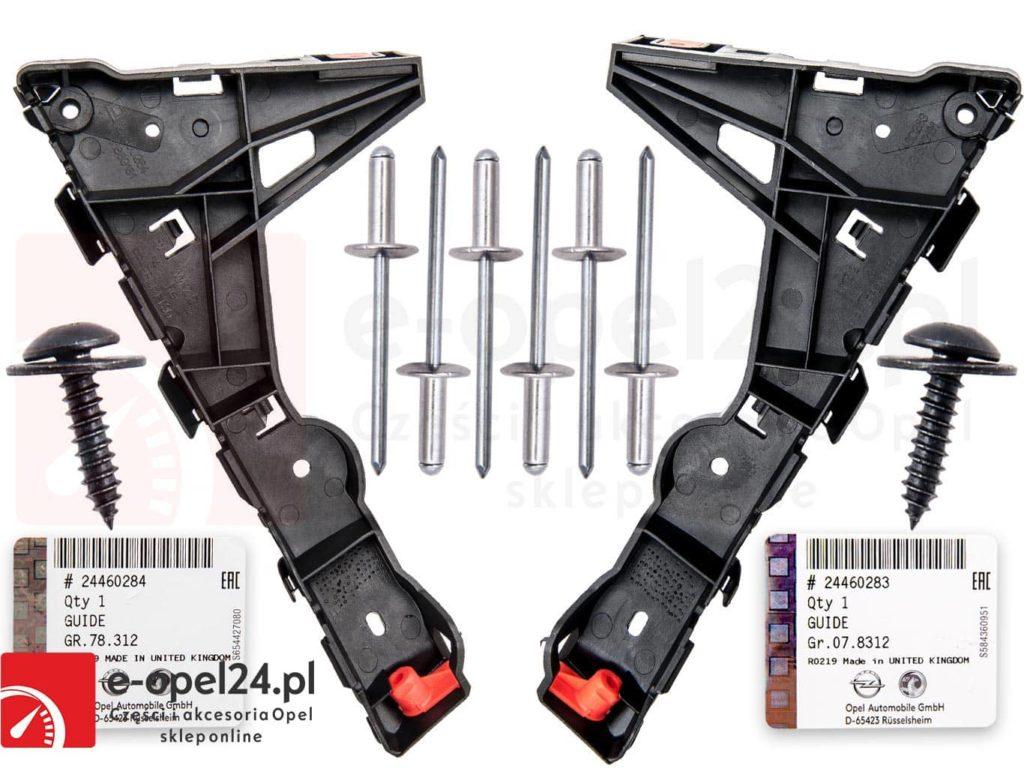 Zestaw (komplet) ślizgów zderzaka przedniego lewa i prawa strona Opel Astra H III - 1406547 / 146548 / 24460283 / 24460284