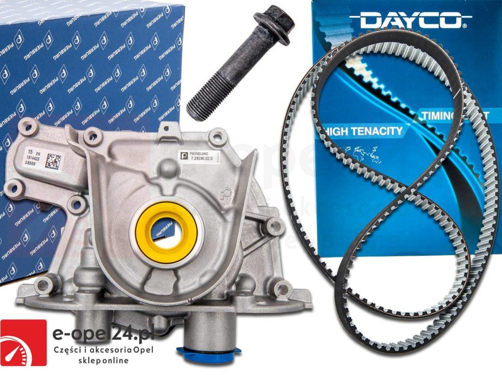 Oryginalna pompa oleju firmy Pierburg w zestawie z paskiem rozrządu (Dayco) oraz oryginalną śrubą koła wału korbowego do silników 2.0 cdti