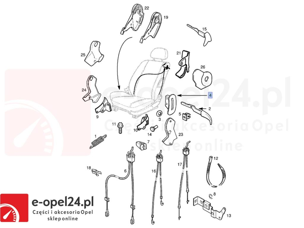Rysunek zaślepki prawej ( uchwytu ) opuszczania fotela Opel Astra G / Corsa B / Zafira - 2262172 / 90455901