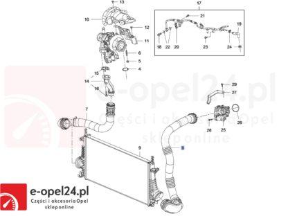 Rysunek wąża od intercoolera do przepustnicy Opel Insignia 2.0 - B20DTH - 1302288 / 13419442