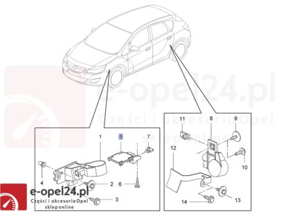 Rysunek - Płytka wzbudzająca czujnik poziomowania świateł ksenonowych Opel Astra J / Zafira C / Cascada - 11235032 / 13287929