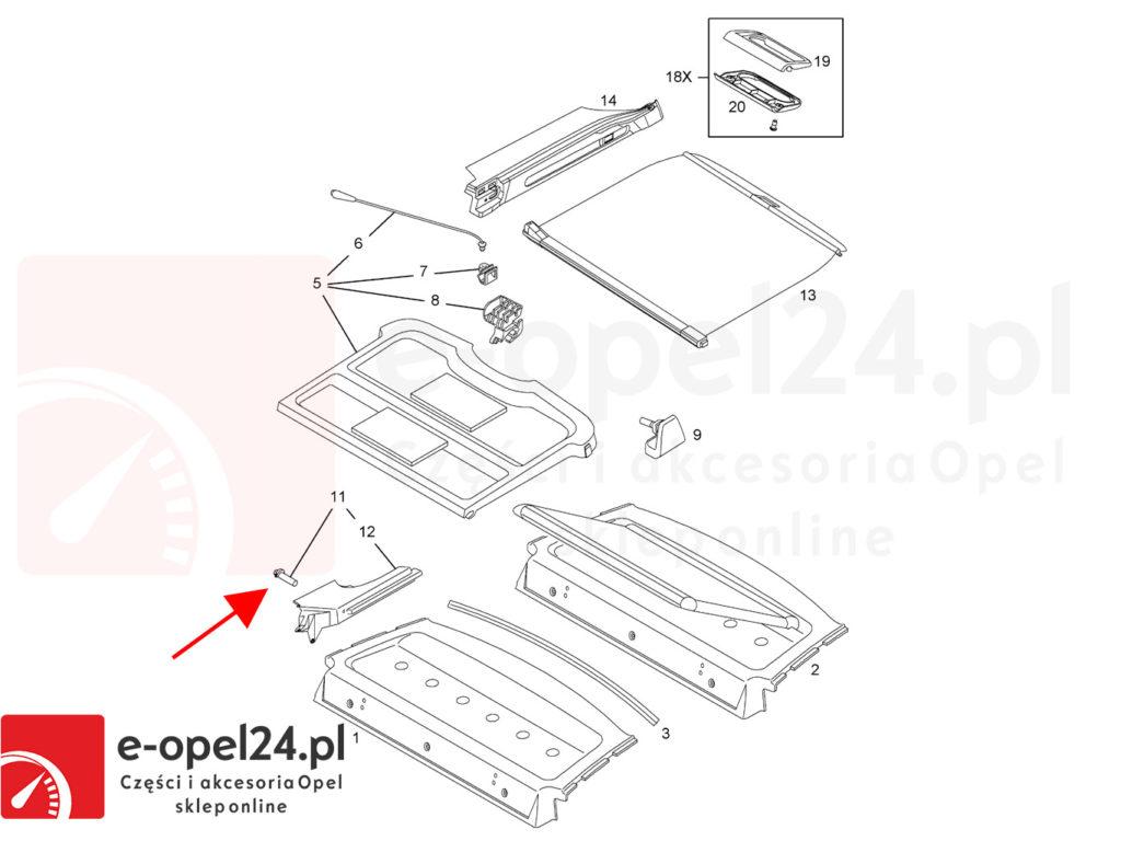 Rysunek pomocniczy - Oryginalny kołek montażowy półki bagażnika Opel Astra H / Vectra C - 2346846 / 24466022