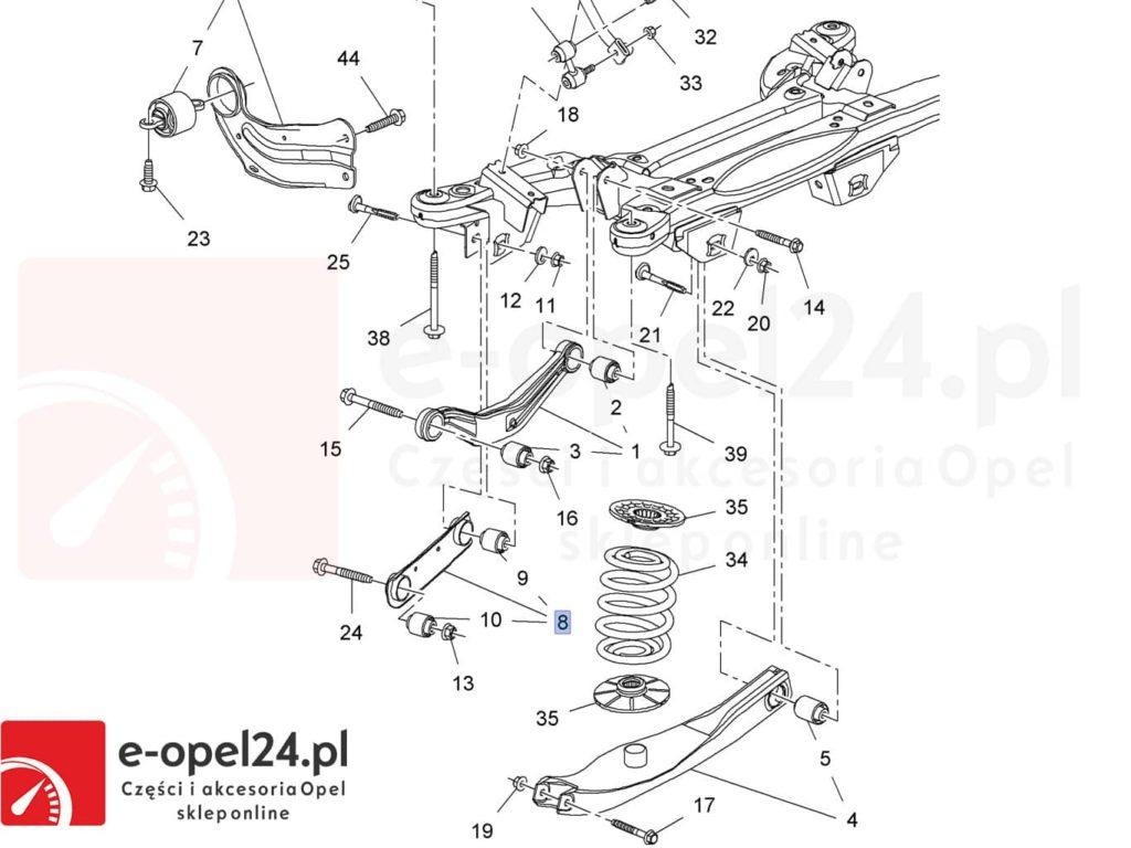 Rysunek - Wahacz tylny dolny prosty Opel Insignia A - 423046 / 13219171