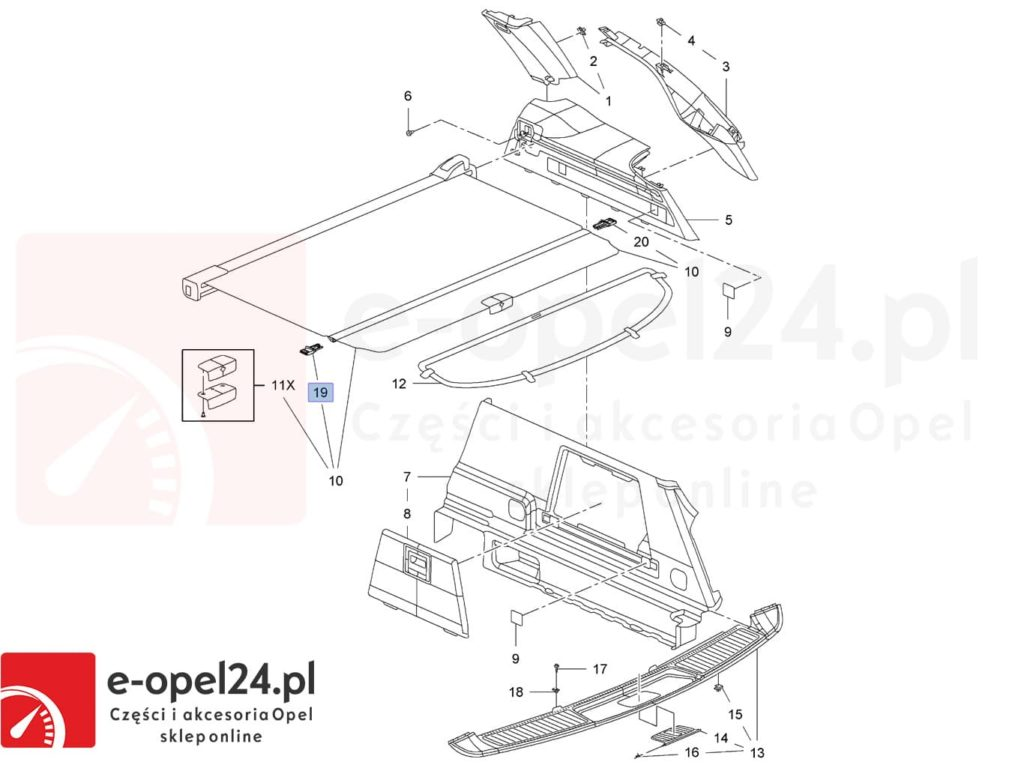 Rysunek - Ślizg prowadnicy lewej rolety bagażnika Opel Insignia A - 2345559 / 13431177