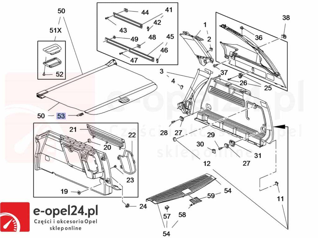 Rysunek - Ślizg prowadnica prawa czarna rolety bagażnika Opel Astra J IV - 2345571 / 13431183