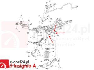 Komplet śruba mimośrodowa wahacza poprzecznego tył z nakretką oraz podkladka regulacyjna Opel Insignia A B - 2005276 / 13219184 / 2064166 / 11546593 / 423560 / 13219183