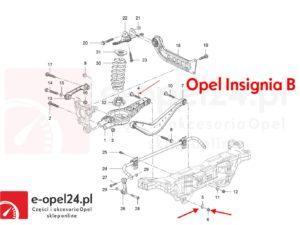 Komplet rysunek śruba mimośrodowa wahacza poprzecznego tył z nakretką oraz podkladka regulacyjna Opel Insignia A B - 2005276 / 13219184 / 2064166 / 11546593 / 423560 / 13219183
