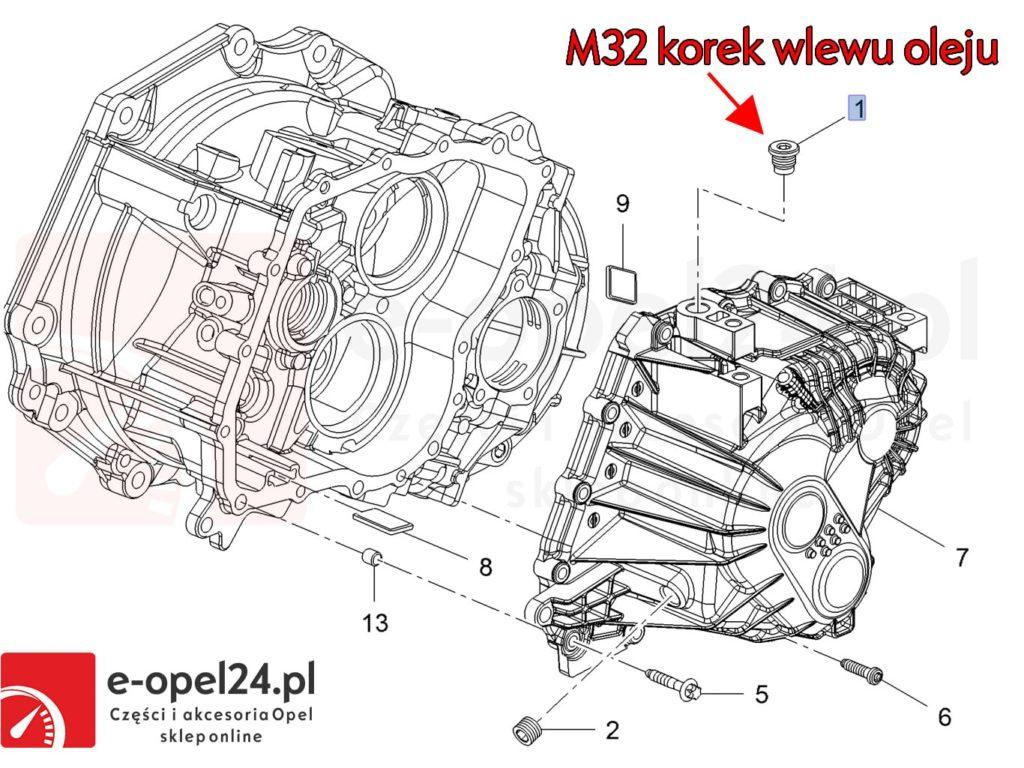 Rysunek - Korek spustowy oleju manualna skrzynia biegów F40 M32 - 2060940 / 11099271