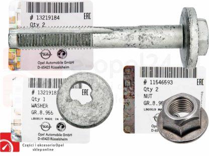 Zestaw Śruba mimośrodowa wahacza poprzecznego tył z nakretka oraz podkladka regulacyjna Opel Insignia A - 2005280 / 13219181 / 2064166 / 11546593 / 423560 / 13219183