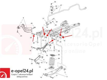 Rysunek - Komplet śrub mimośrodowych regulacji zbieżności geometrii z podkładkami oraz nakrętkami opel Insignia A - 2005280 / 13219181 / 2005276 / 13219184