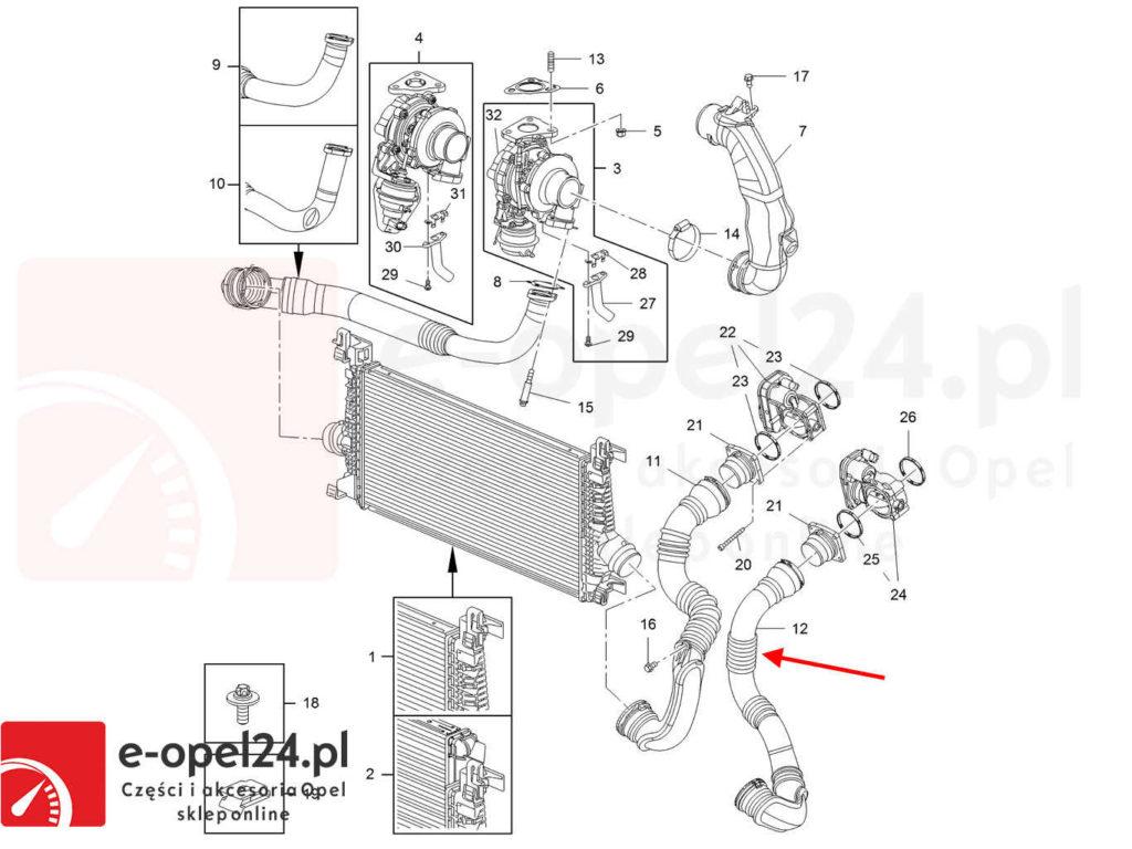 Rysunek - Rura przewód intercoolera z przepustnica Opel Astra J IV 1.7 - 1304124 / 13265281