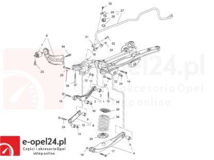 Rysunek - Śruba mimośrodowa wahacza poprzecznego tył z nakretka oraz podkladka regulacyjna Opel Insignia A - 2005280 / 13219181 / 2064166 / 11546593 / 423560 / 13219183