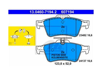 Okładzina hamulcowa tylna ATE 13.0460-7194.2 Opel Vectra C / Signum - 1605117 / 93183140